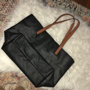 Old Navy synthetic leather black tote